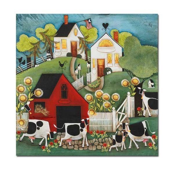 Blakeley Wilson comtempory American Folkart Painting Bessie Looking Around Corner