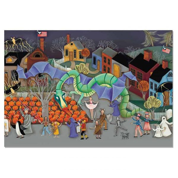 Blakeley Wilson, American Folk Art painting, Halloween Parade with dragon