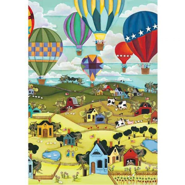 Blakeley Wilson, American Folk Art, Hot Air Balloons over rolling hill with farms and homes