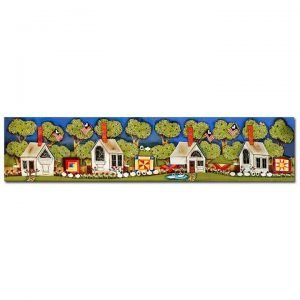 Blakeley Wilson, American Folk Art, Row on homes with apple trees homes