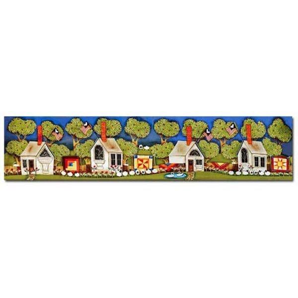 Blakeley Wilson, American Folk Art, Row on homes with apple trees homes