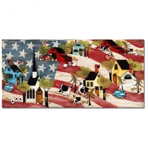 Blakeley Wilson, American Folk Art painting on american flag backgroundpainting, American Flag, white church, sun flowers, cows chickens sheep ducks cats and dog