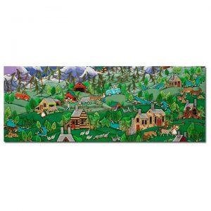 Blakeley Wilson, American Folk Art, Image Coming Around the Mountain, Mountain Views with Domkey