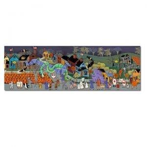 Blakeley Wilson, American Folk Art painting, Halloween Parade with dragon