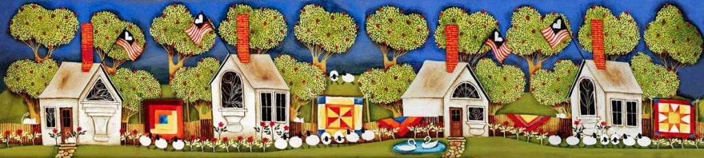 Blakeley Wilson, American Folk Art painting, Blakeley Wilson, Row of homes with apple trees