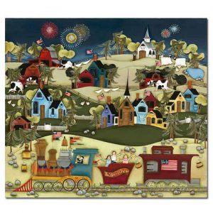 Blakeley Wilson original american folk art evening train ride with fire works