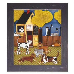 Blakeley Wilson, American Folk Art painting, framed canvas odogs with cats on fence with yellow house