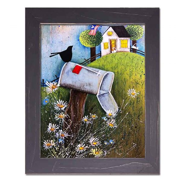 Blakeley Wilson, American Folk Art, framed canvas of old mail box with family name