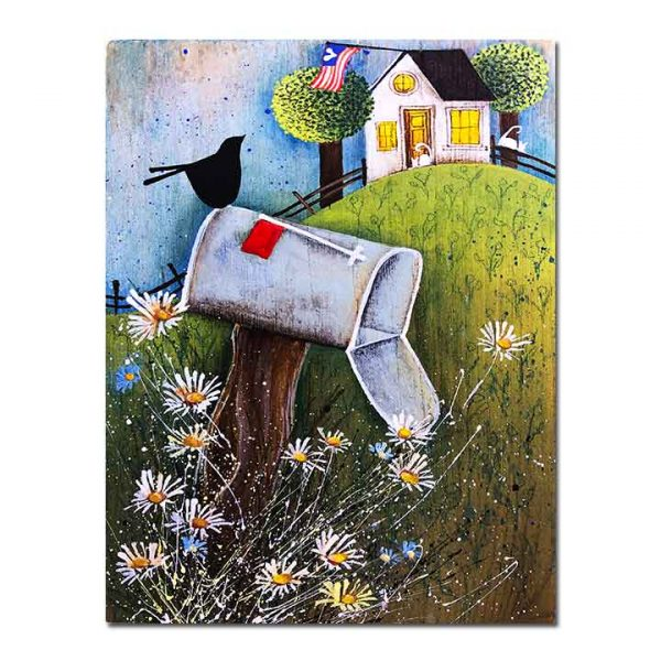 Blakeley Wilson, American Folk Art painting, of old mail box with familyname