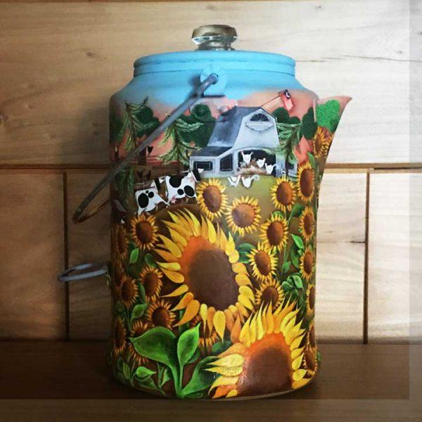 Blakeley Wilson, American Folk Art painting, Sunflowers on coffee Pot, American Folk Art