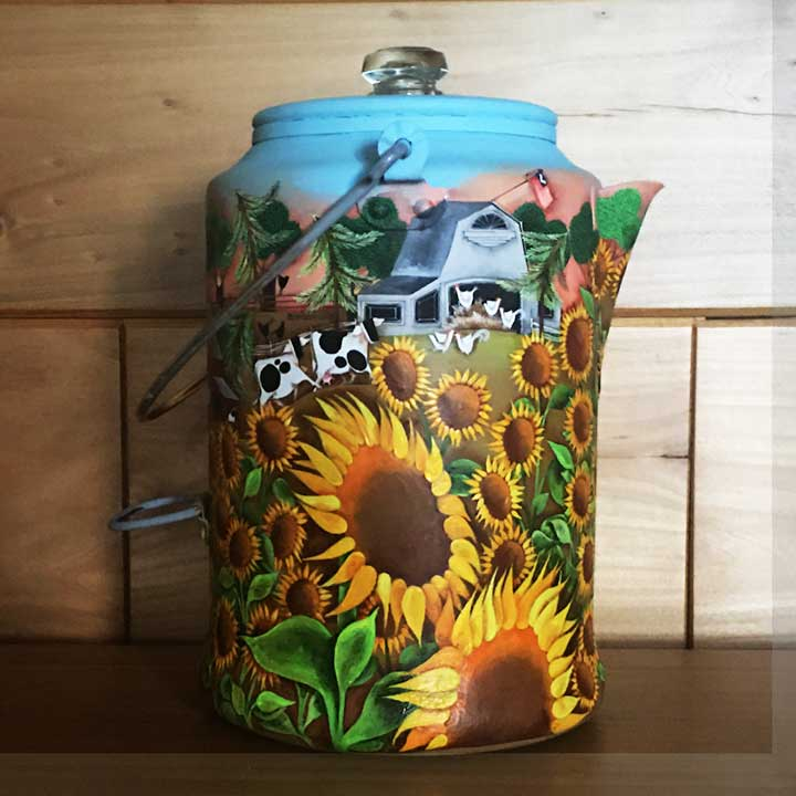 Blakeley Wilson, American Folk Art painting, Sunflowers on coffee Pot, American Folk Art