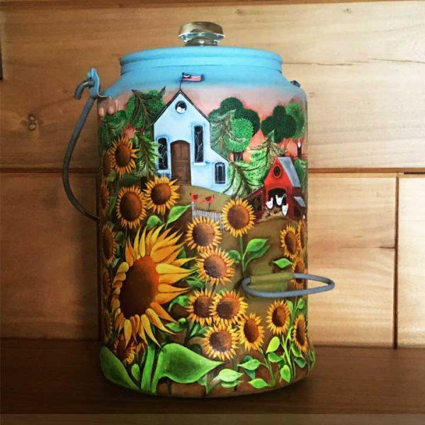 Blakeley Wilson, American Folk Art painting, on vintage coffee pot