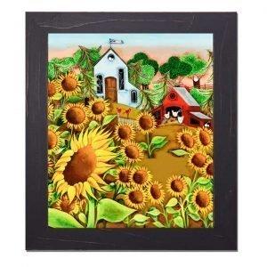 Blakeley Wilson, American Folk Art painting, Sunflowers and farm scene