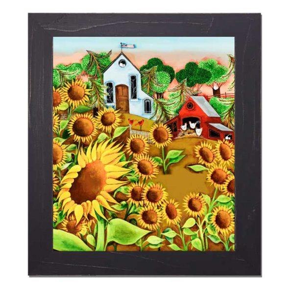 Blakeley Wilson, American Folk Art, Sunflowers and farm scene