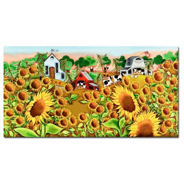 Blakeley Wilson, American Folk Art painting, Sunflowers and farm scene