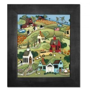 Blakeley Wilson, American Folk Art painting, white church, rolling hills with school bus fall flowers, garden cows chickens sheep ducks cats and dog