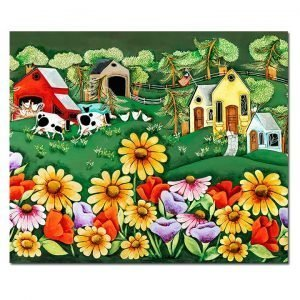 Blakeley Wilson, American Folk Art painting, Spring Flowers in front of Farm Home and cows chickens barn