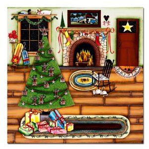 Blakeley Wilson, American Folk Art painting, Christmas morning