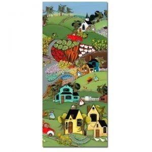 Blakeley Wilson, American Folk Art painting, Fall market thru the hills