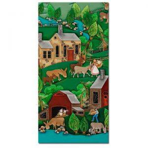 Blakeley Wilson, American Folk Art painting, painting Feeding Donkeys