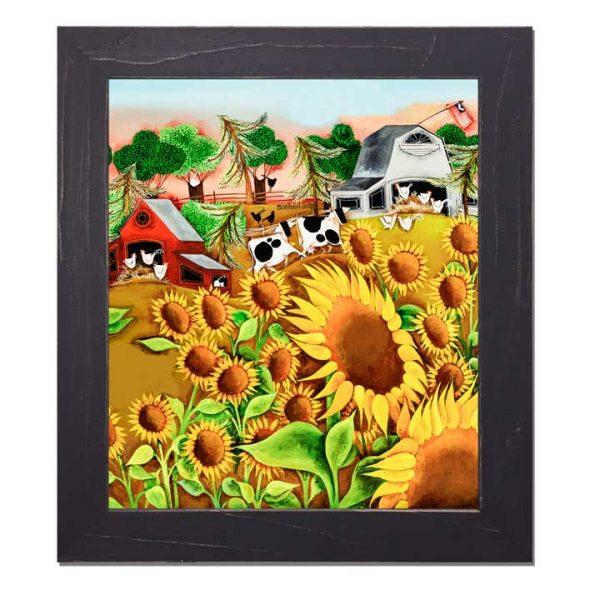 Blakeley Wilson, American Folk Art painting, Sunflowers and farm scene D