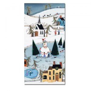 Blakeley Wilson, American Folk Art painting, snowman ice skating scene