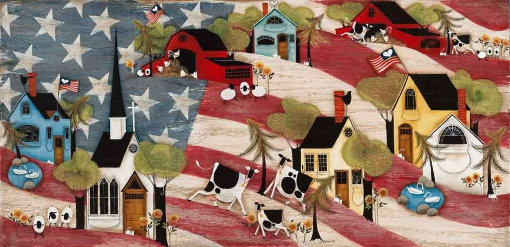 Blakeley Wilson, American Folk Art painting on american flag background