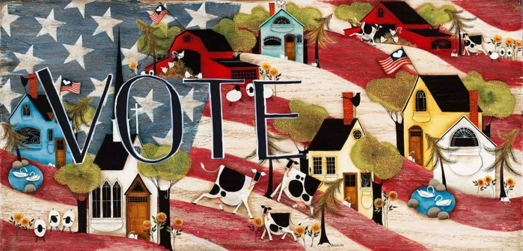 Blakeley Wilson, Vote art, American Folk Art painting on american flag background