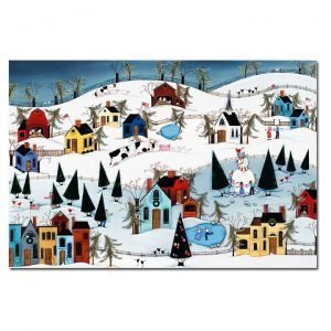 Blakeley Wilson, American Folk Art painting, painting of Winter snow snowman and ice skating