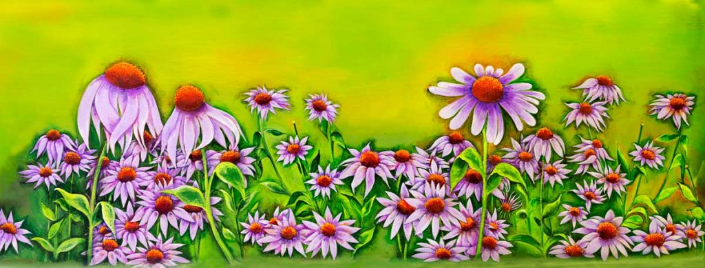 Blakeley Wilson, Comtemporary American Folk Art, cone flowers