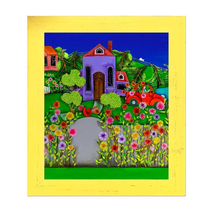 Blakeley Wilson original contemporary American Folk Art, Zinnia Road