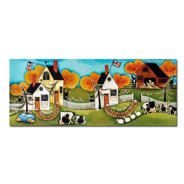 American Folk Art Painting Autumn Love