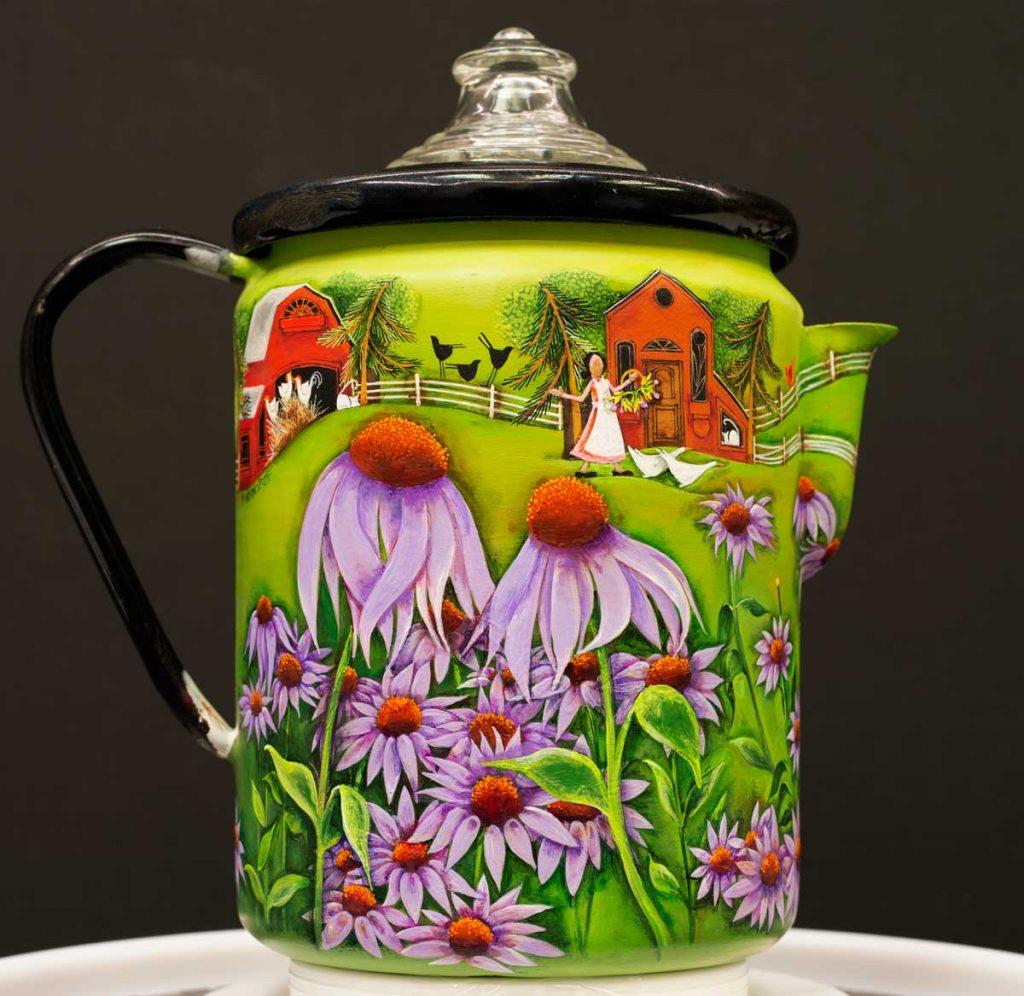 Blakeley Wilson American folk art painting on coffee pot