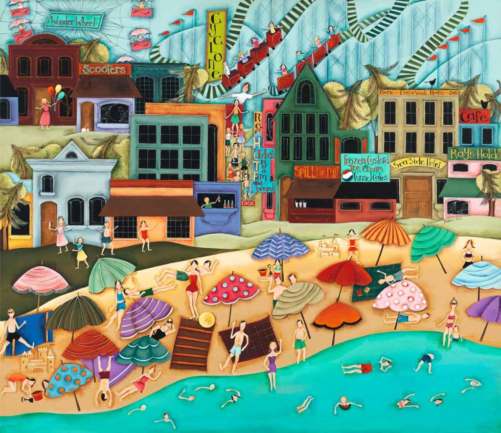 Blakeley Wilson original contemporary American Folk Art Up UP and A sea side funway