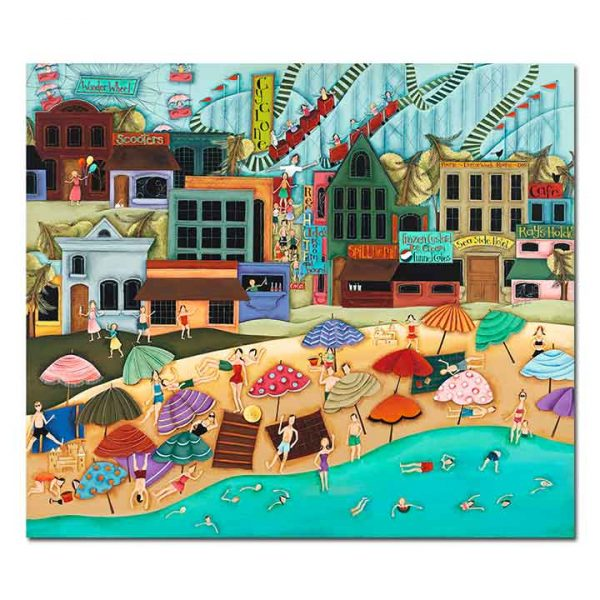 Blakeley Wilson original contemporary American Folk Art Sea Side Fun