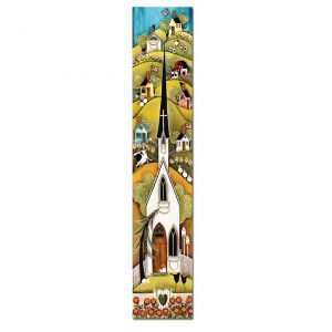 Blakeley Wilson, American Folk Art painting Church with Flowers panel A