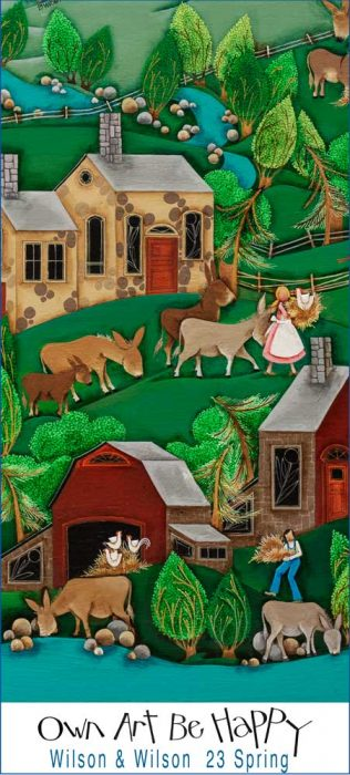 Blakeley Wilson, American Folk Art painting, painting feeding donkeys